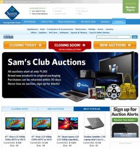 Sams Club Auction Home Page